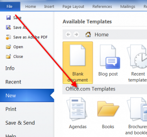 In any version of Word, go to File>New