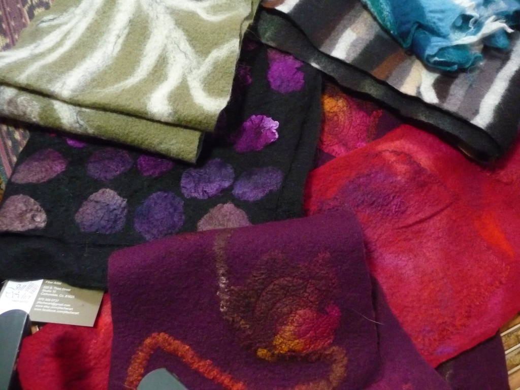 Hand felted one-of-a-kind scarf, wool, silk mohair