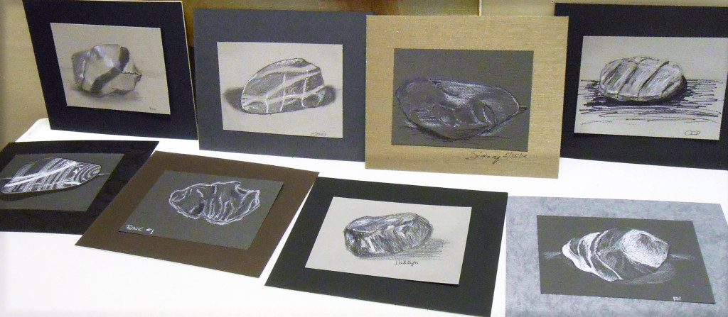 Beautiful studies of small stones on toned paper