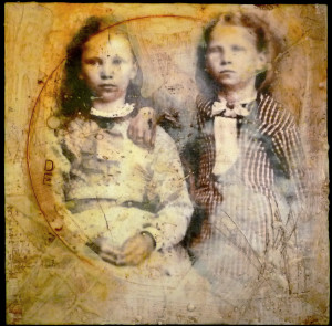 Encaustic and vintage photo - Lyn Belisle