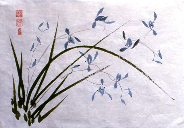 Sumi-e painting by Maripat Munley