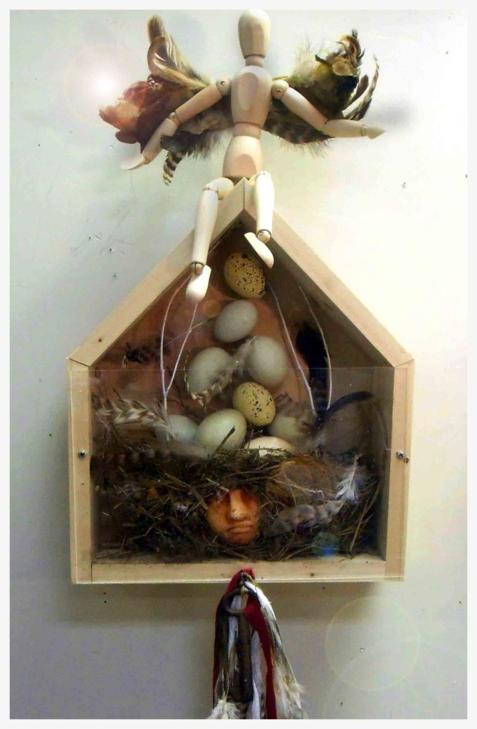 "Lyn Belisle ""Brood, Hatch, Fly - wood, earthenware, plexiglass, found objects"