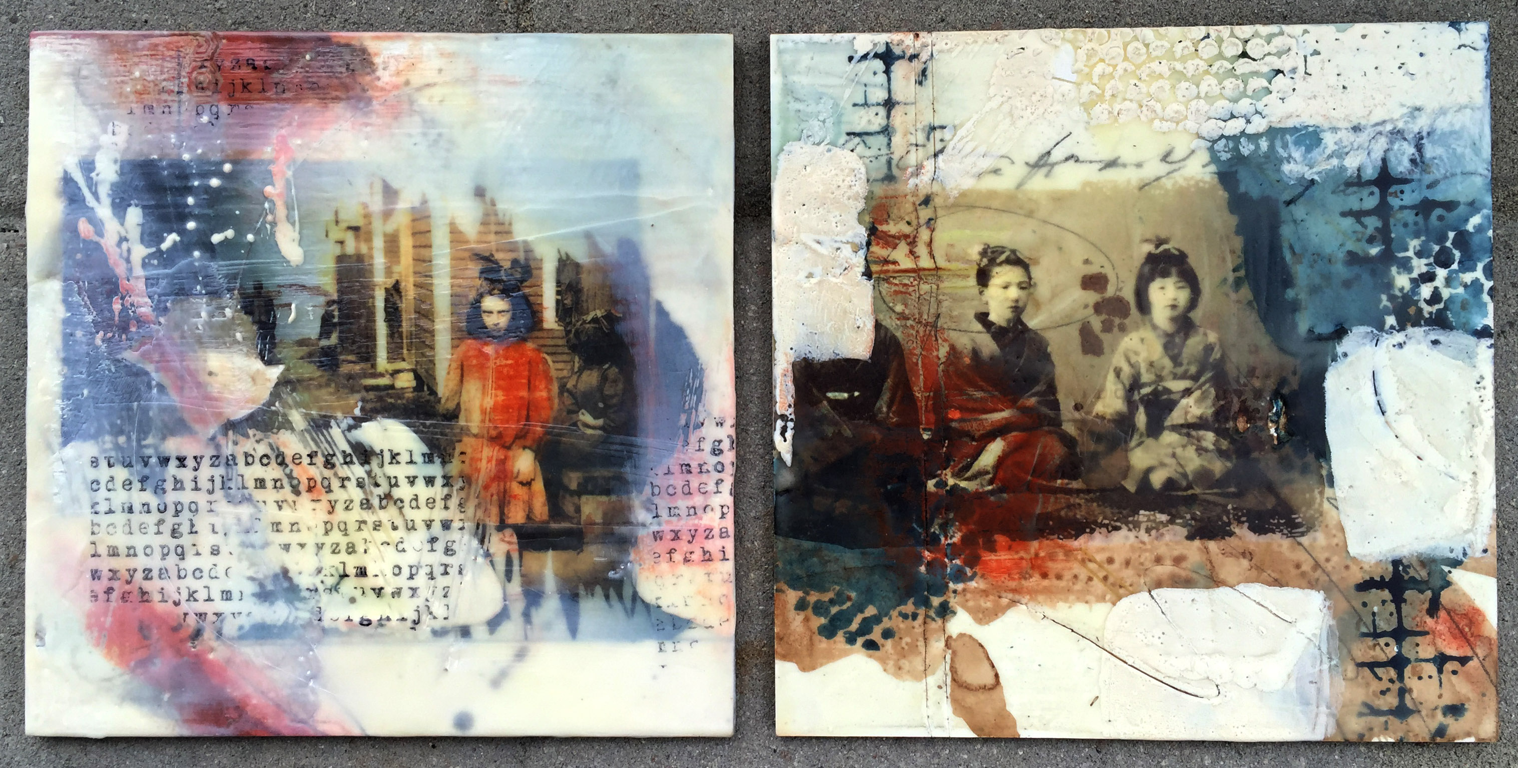 Experimental encaustic work on board with wax, digital images, watercolor and pan pastels