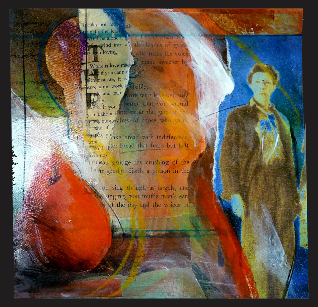 """Three"" Lyn Belisle, mixed media collage"