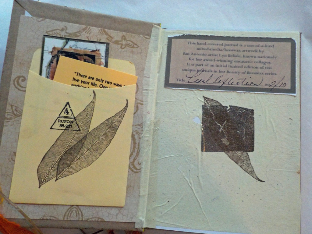Journal inside front cover with title and number